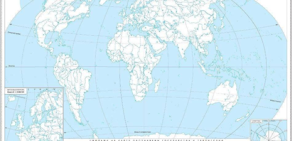 Карта рельефа мира