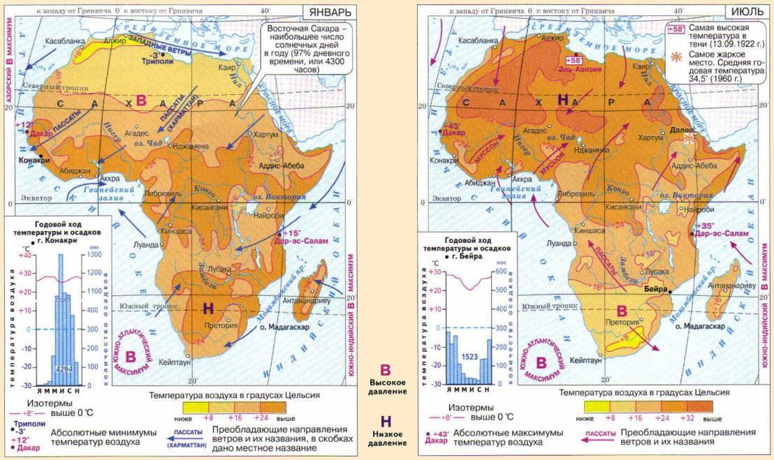 В каких полушариях расположена африка