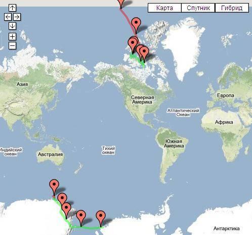 Магнитный полюс земли сегодня на карте