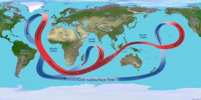 Карта течій світового океану