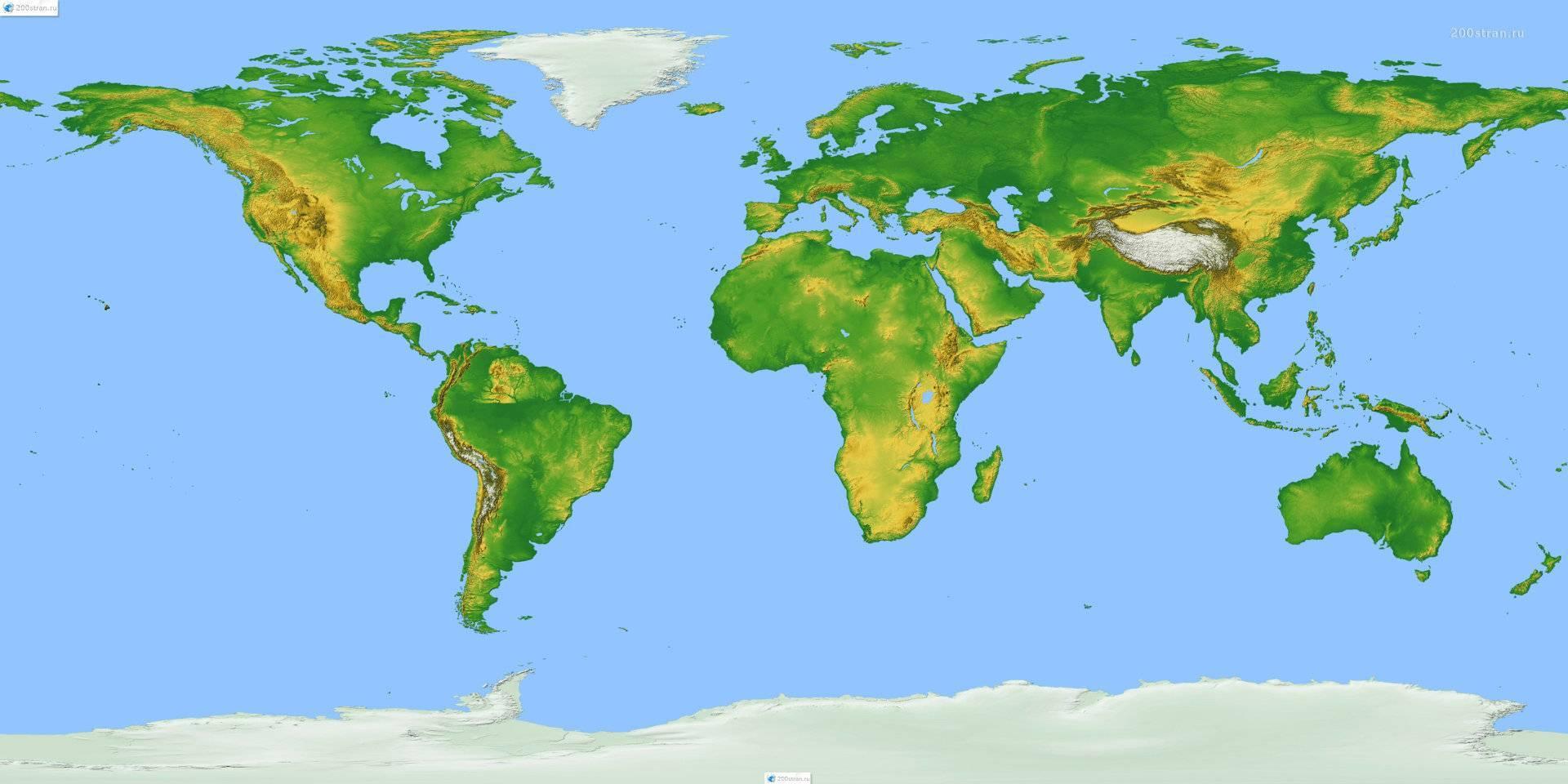 Возвышенности на карте мира