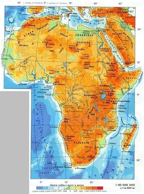 Границы африки на карте