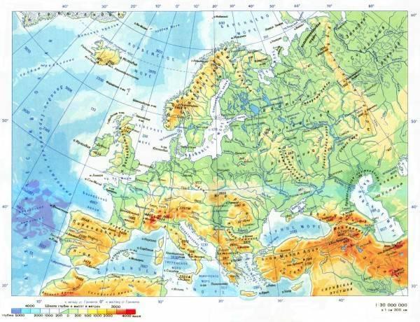 Карта европы без обозначений