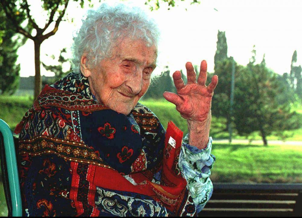 FILE -- Oct 17, 1995 file of Jeanne Calment, believed to be the world's oldest person, who died Monday August 4, 1997 at the age of 122 in her nursing home in Arles, southern France. (AP Photo/File)