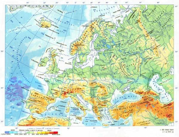 Карта европы с названиями стран и городов