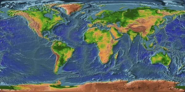 Карта рельефа земли