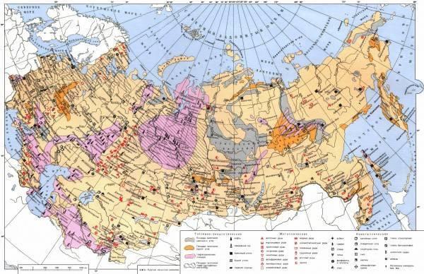 Карта природных ископаемых россии