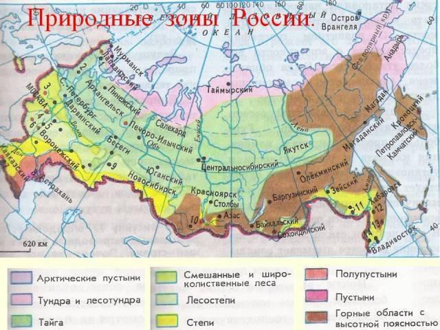 Карта природных зон россии для начальной школы