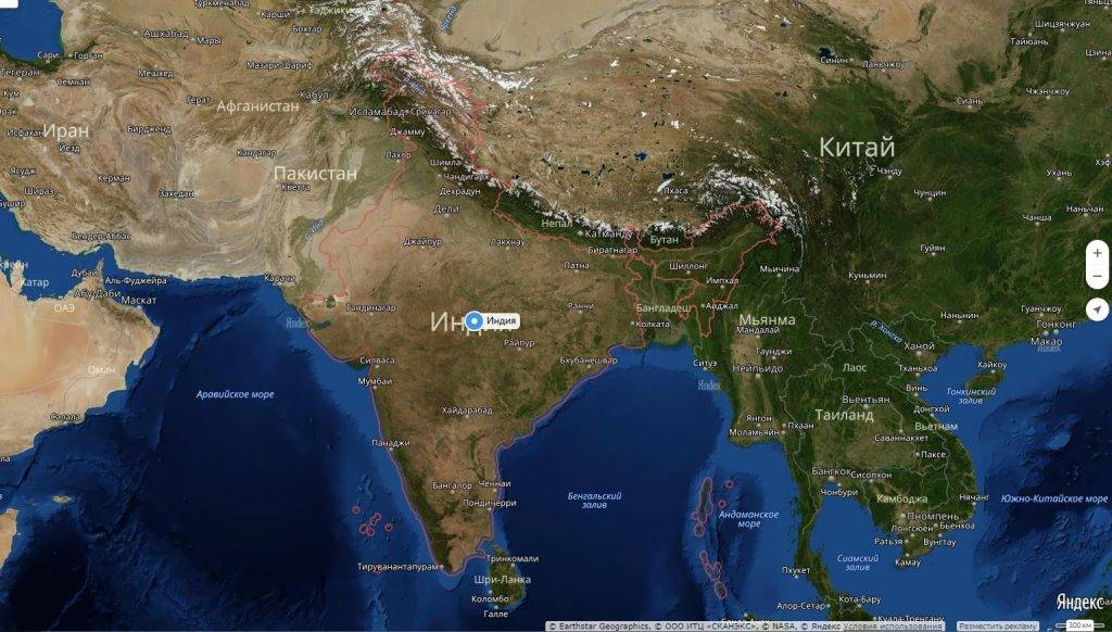 Где находится полуостров индостан на карте мира