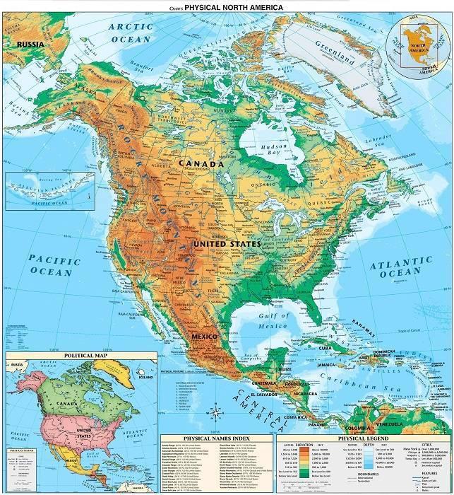 Карта сев америки