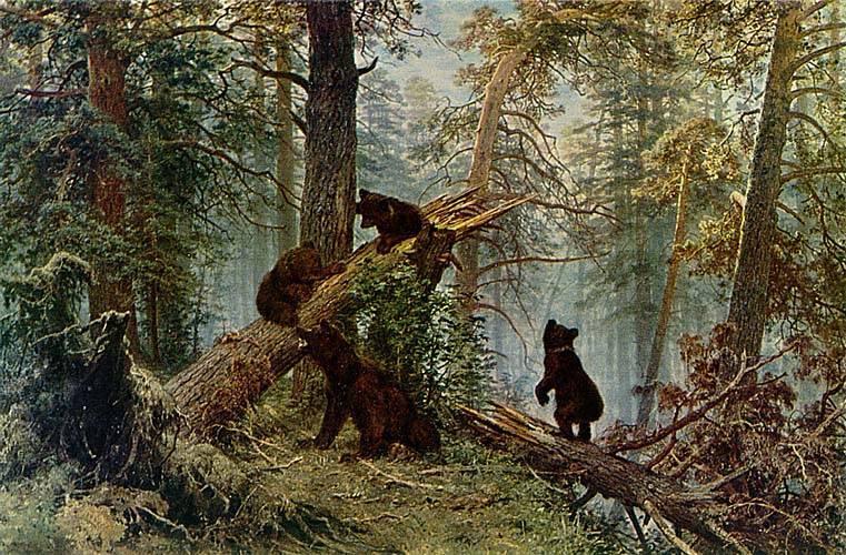 Описание картины шишкина утро в сосновом лесу