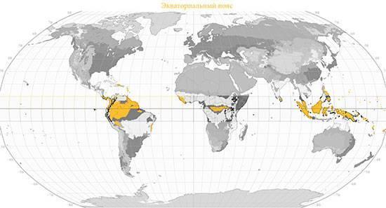 Занимаемая территория экваториального пояса