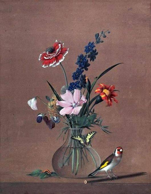Толстой букет цветов бабочка и птичка