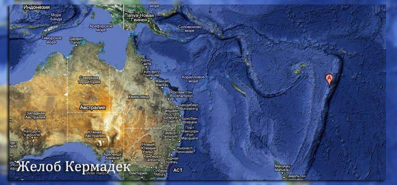 Карта глубин тихого океана