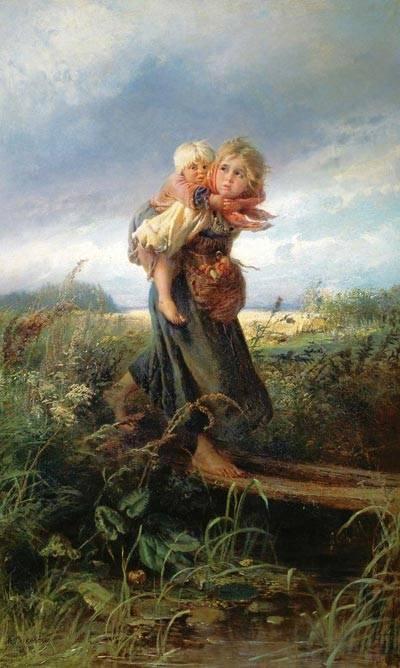 Дети убегающие от грозы картина