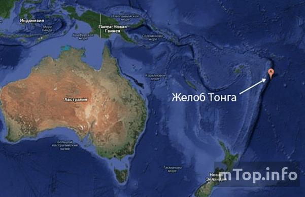 Самые глубокие впадины в океанах на карте