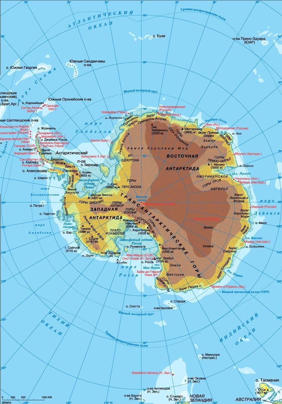 Расположение океанов на карте мира