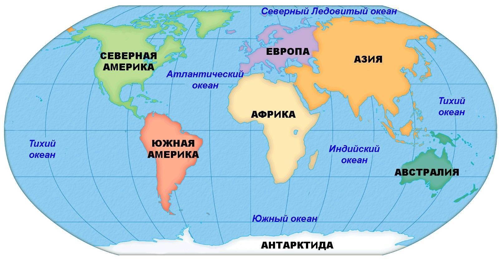 Части света на карте мира