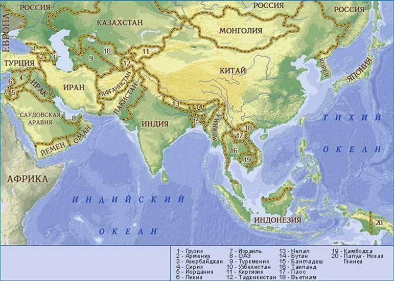 Политическая карта передней азии