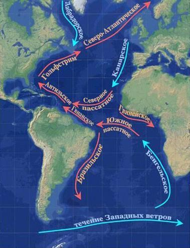 Атлантический океан на карте мира