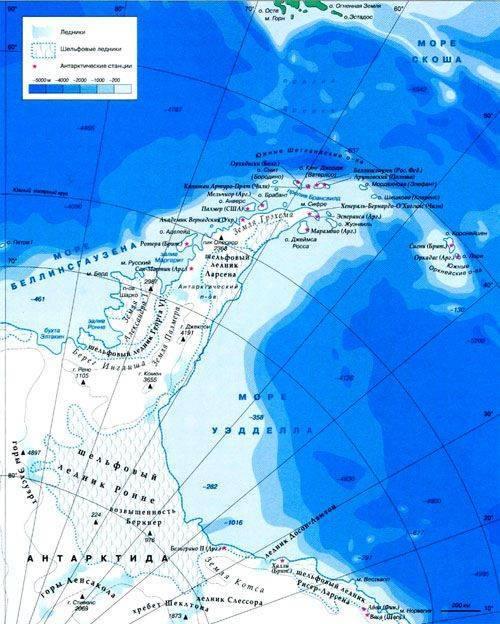 Антарктический полуостров на карте