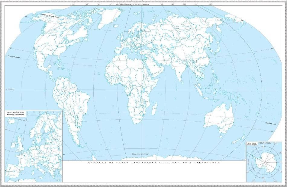 Материковая карта мира