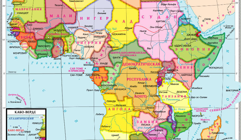 Государства африки на карте